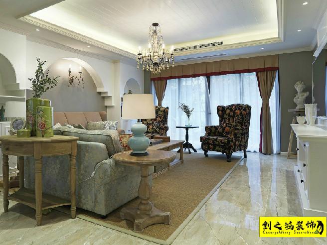 160㎡格调绮园三室两厅美式风格装修效果图