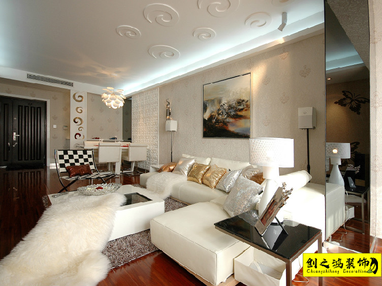 78㎡格调绮园两室一厅现代简约风格装修效果图