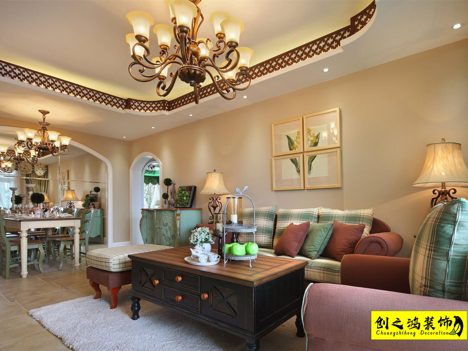 92㎡诺德中心二室二厅美式风格装修效果图