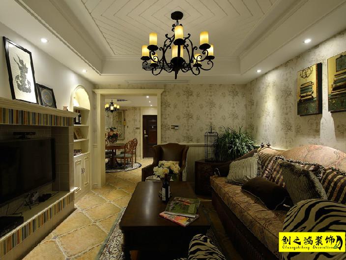 92㎡新梅江锦绣里二室二厅美式风格装修效果图