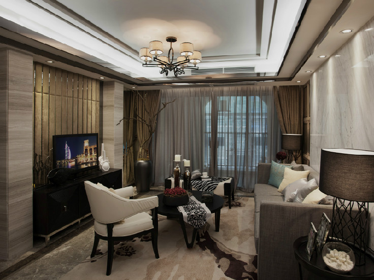 98㎡首创大都滙三室两厅混搭风格装修效果图