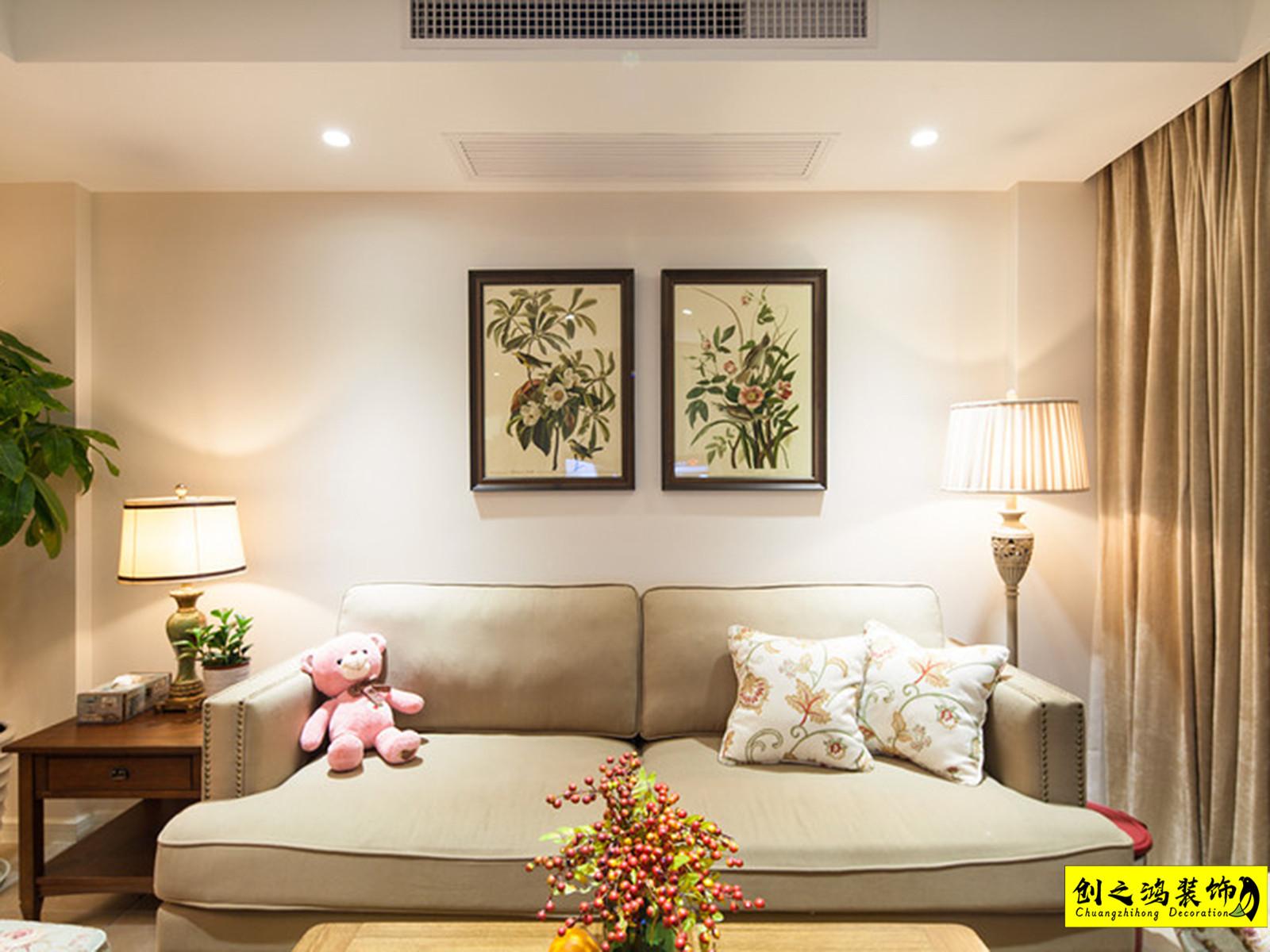 88㎡中海寰宇天下二室二厅美式风格装修效果图