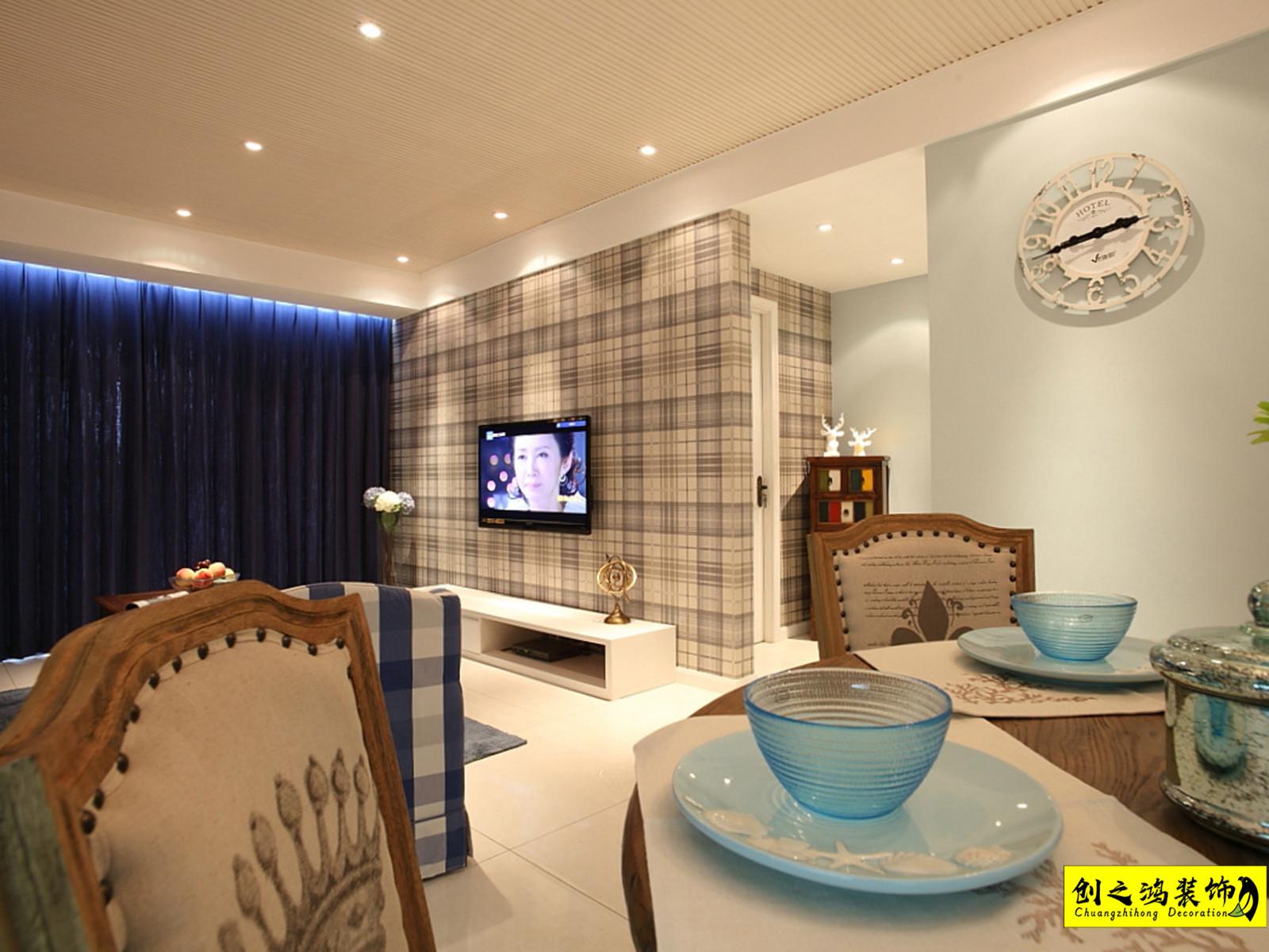 152㎡恒大帝景三室两厅美式风格装修效果图
