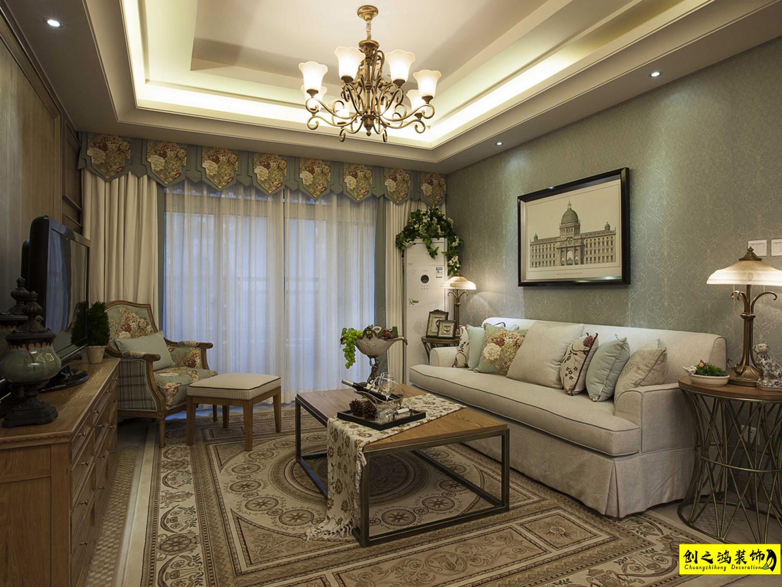 105㎡中海寰宇天下三室两厅美式风格装修效果图