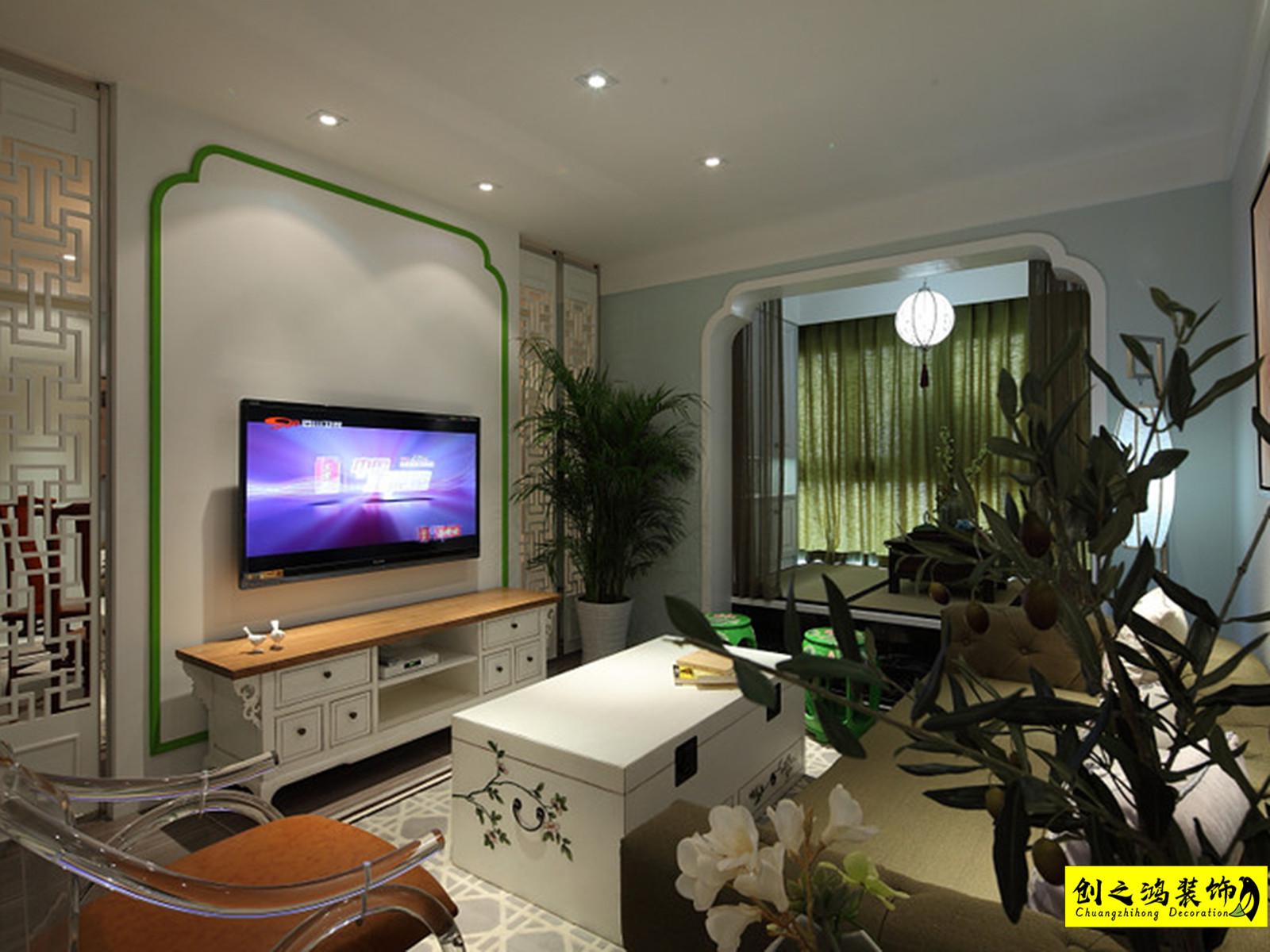 136㎡天房六合国际三室两厅中式风格装修效果图