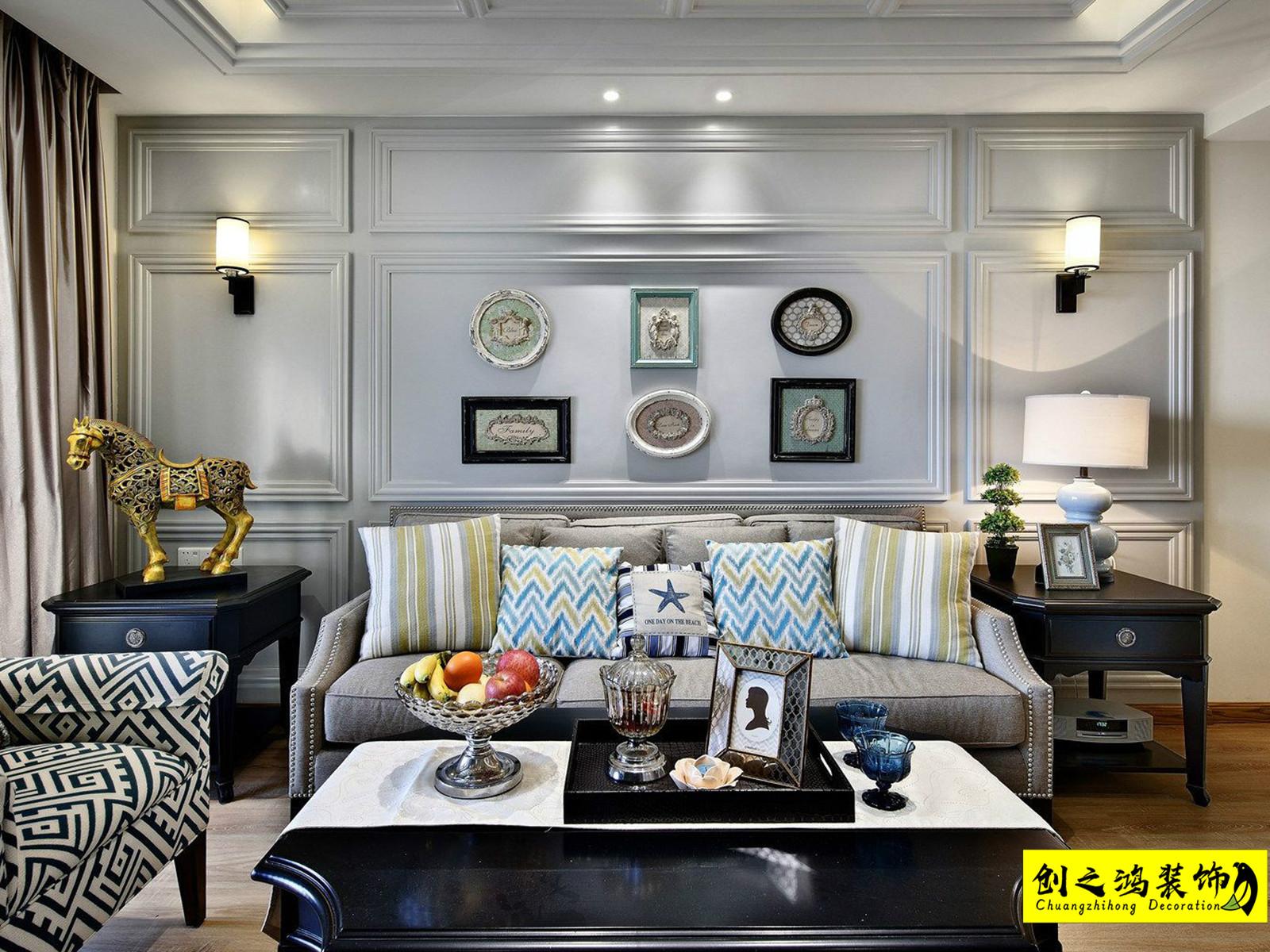 138㎡格调绮园三室两厅美式风格装修效果图