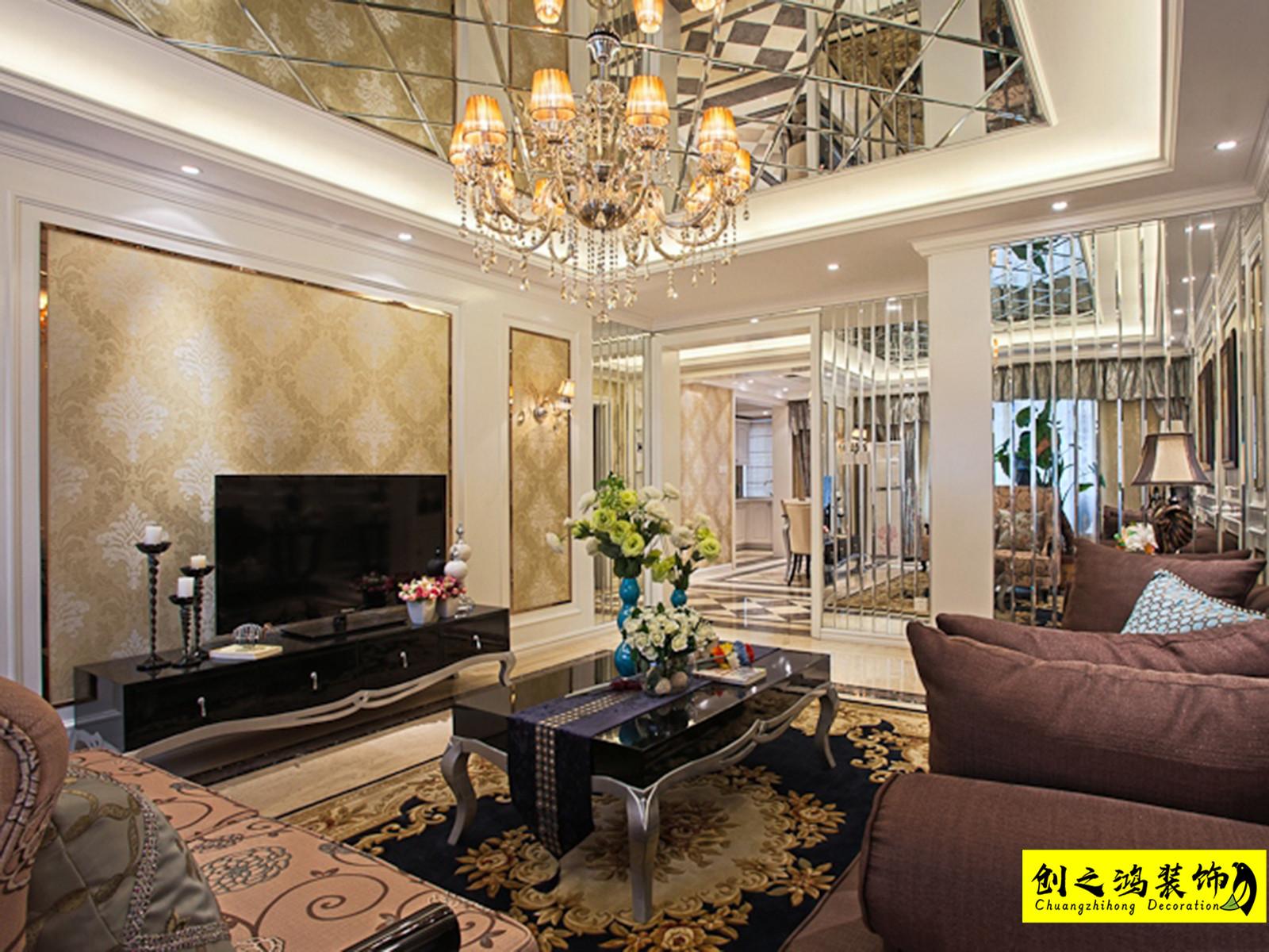 128㎡半湾半岛三室两厅美式风格装修效果图