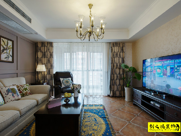 126㎡蓝光雍锦香颂三室两厅美式风格装修效果图