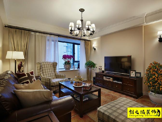 140㎡泰达城河与海三室两厅美式风格装修效果图