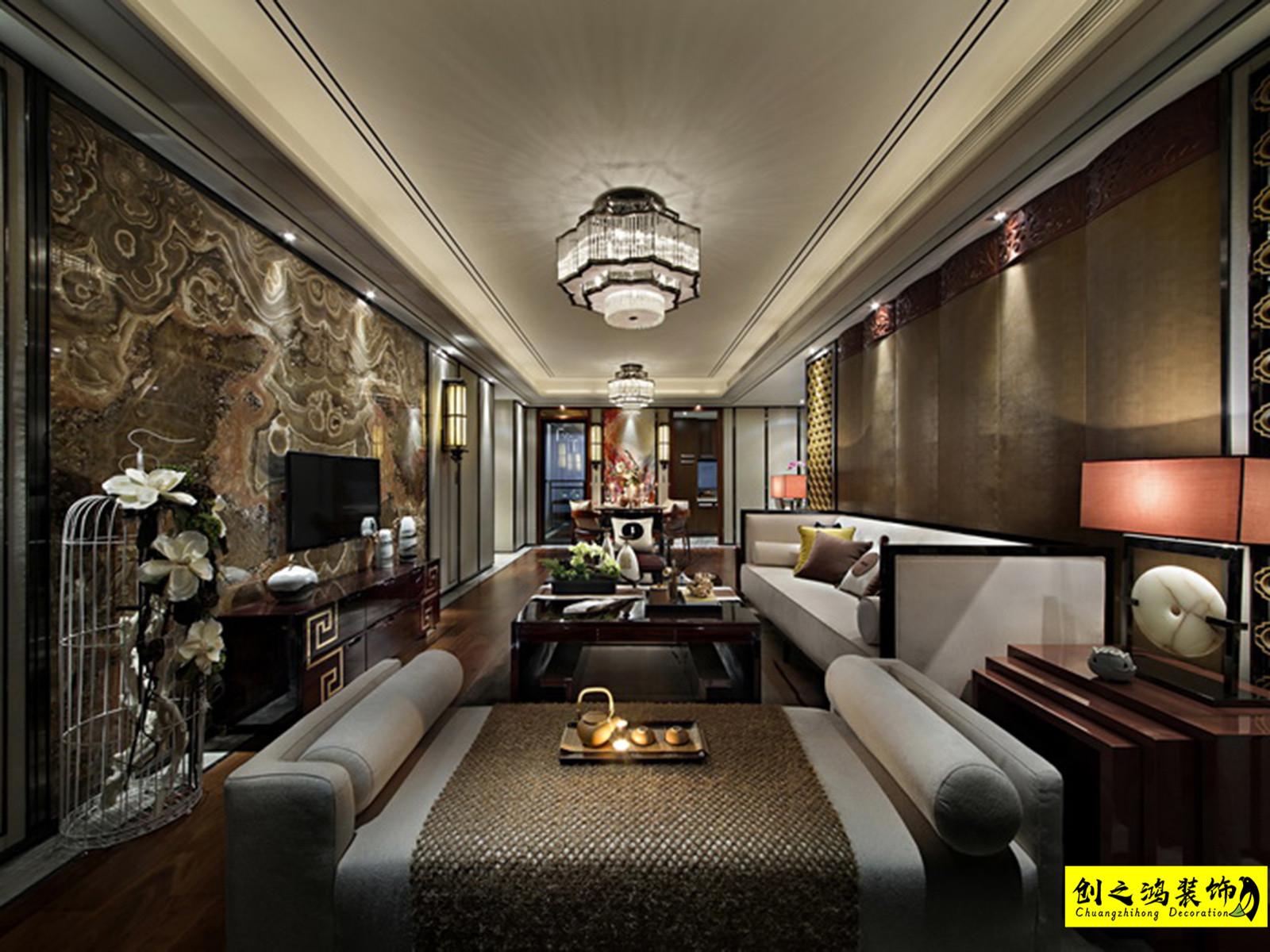 140㎡金地艺城瑞府三室两厅中式风格装修效果图