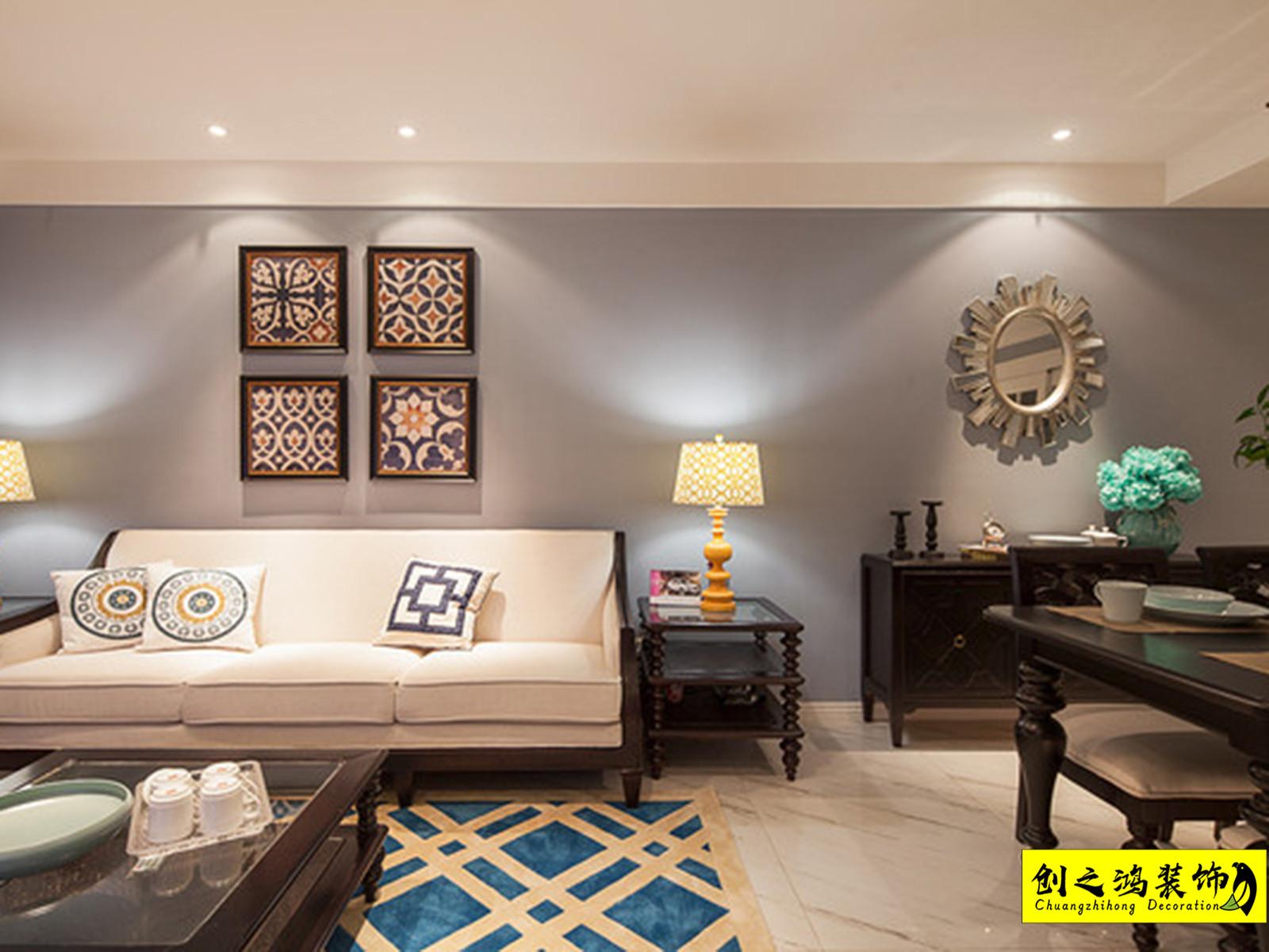 104㎡恒大御景湾三室两厅美式风格装修效果图
