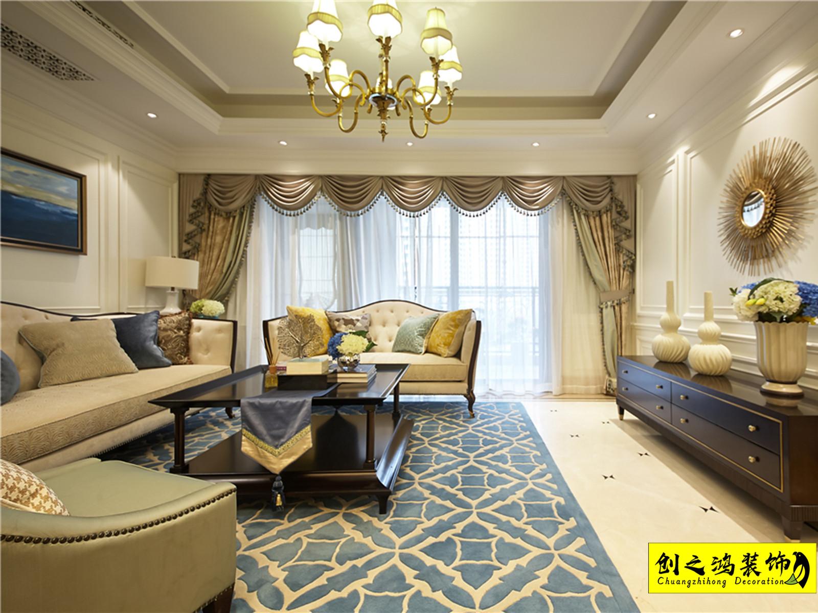 142㎡泰达城河与海三室两厅欧式风格装修效果图