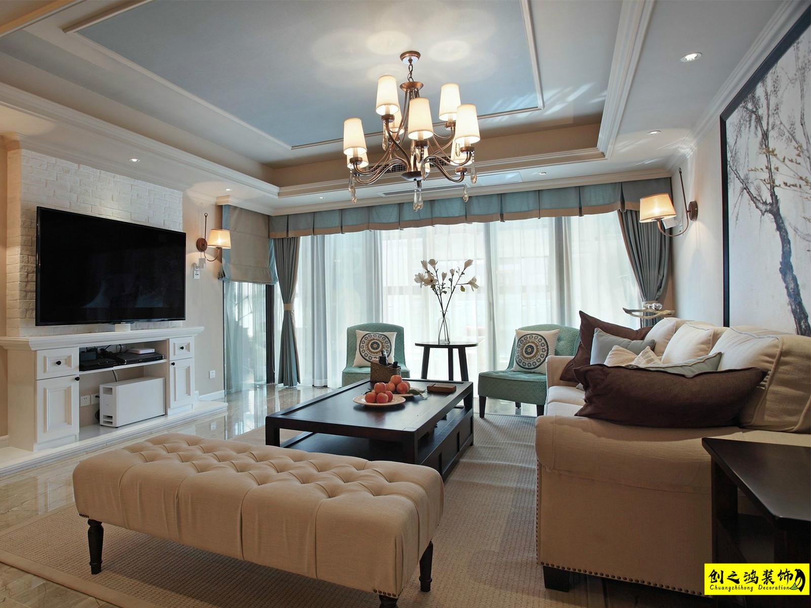 107㎡蓝光雍锦香颂三室两厅美式风格装修效果图