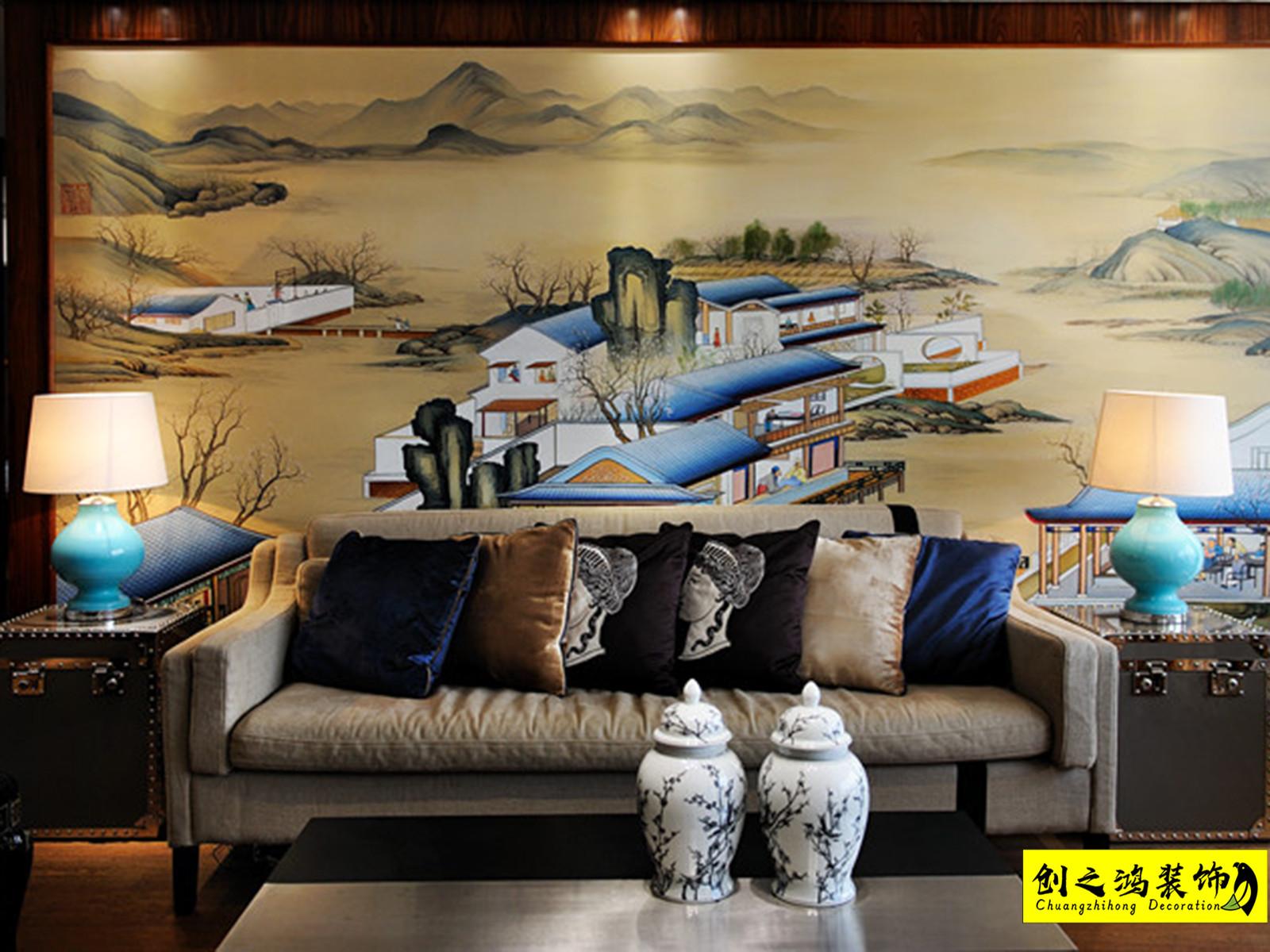 114㎡恒大御景湾三室两厅中式风格装修效果图