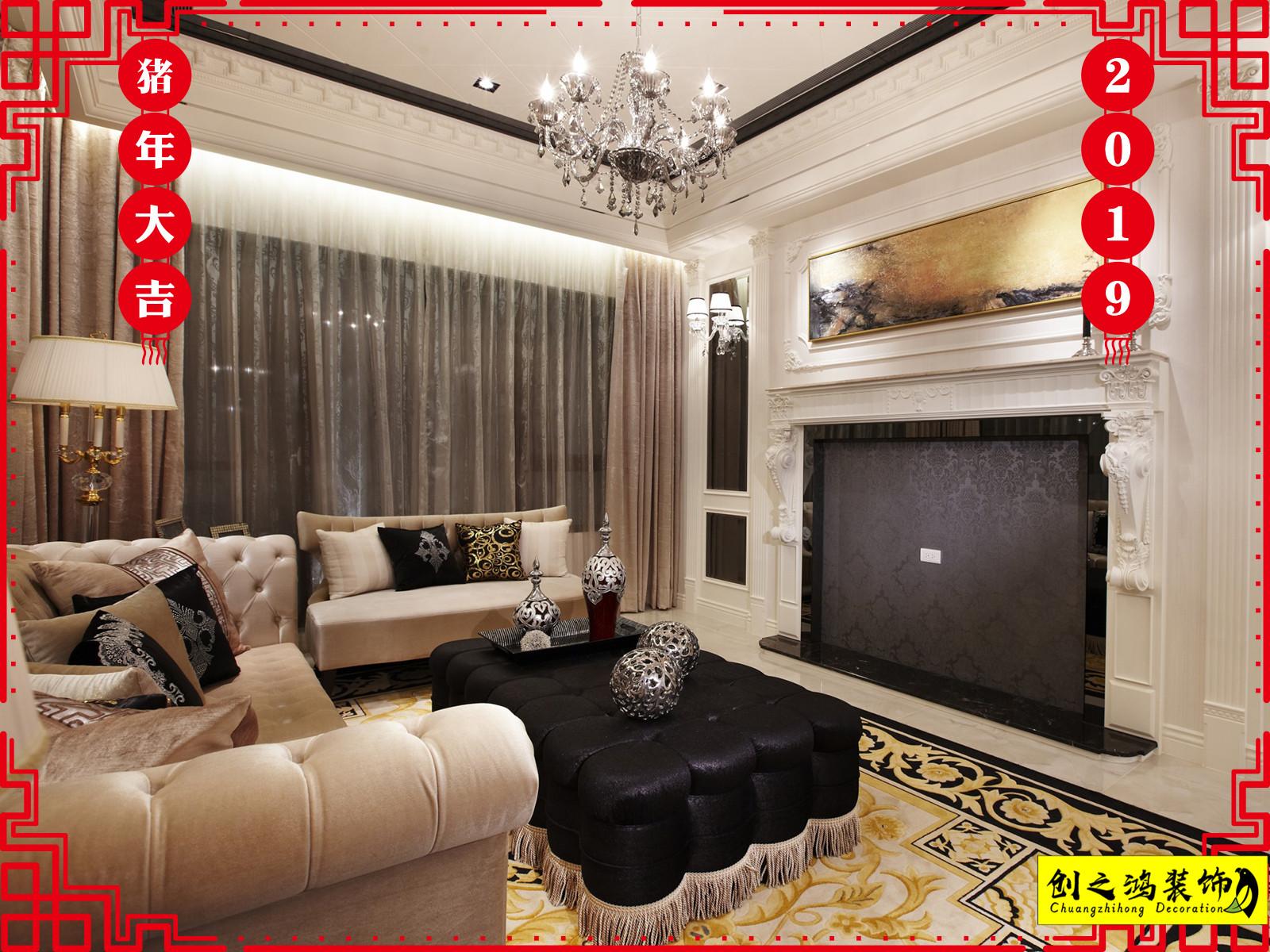 182㎡半湾半岛四室两厅新古典风格装修效果图