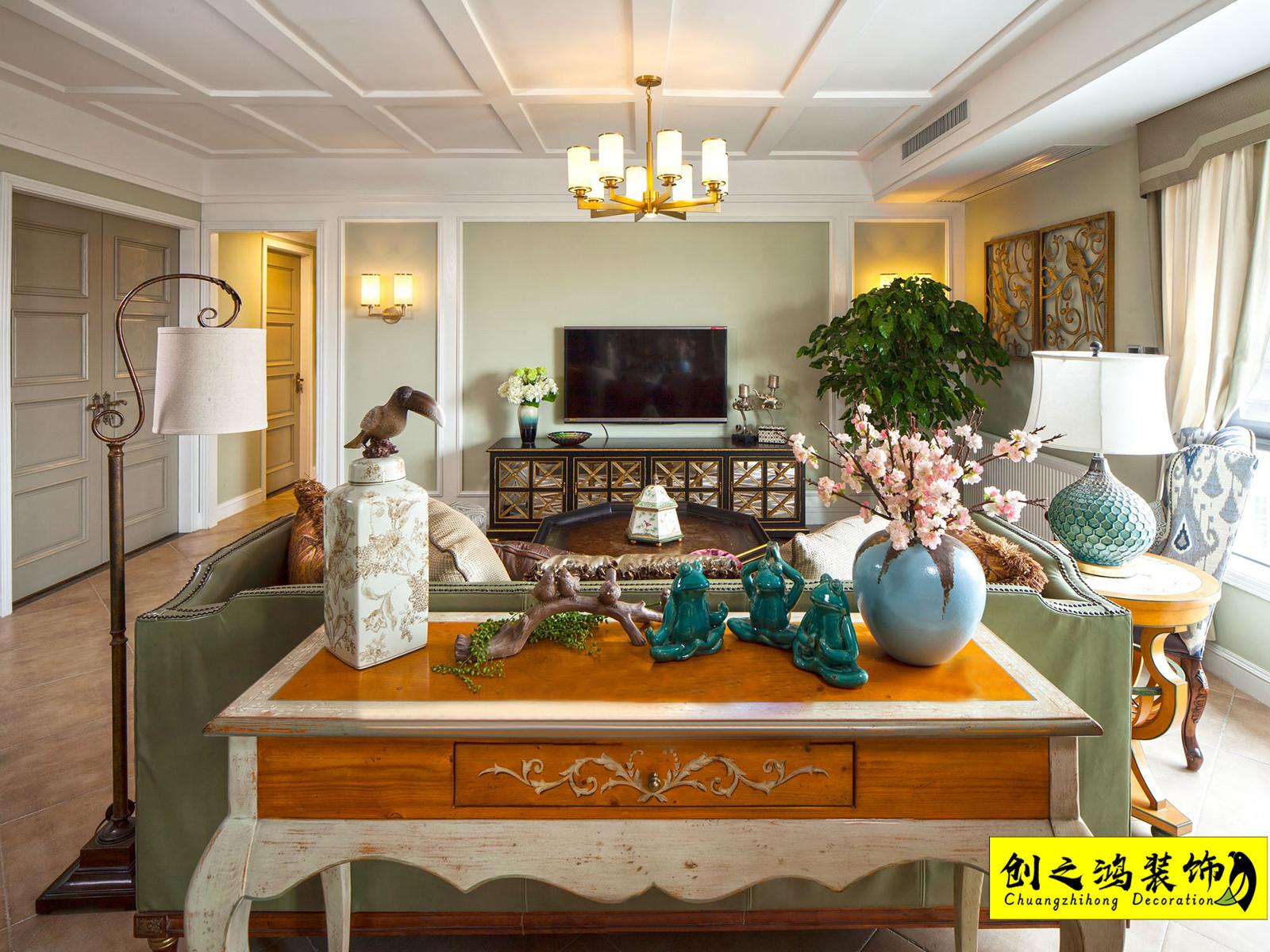 90㎡华侨城天鹅堡二室二厅美式风格装修效果图