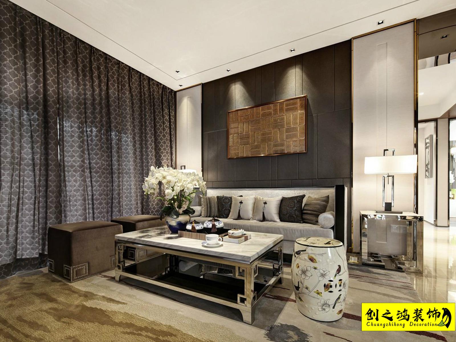 128㎡蓝光雍锦香颂三室中式风格装修效果图