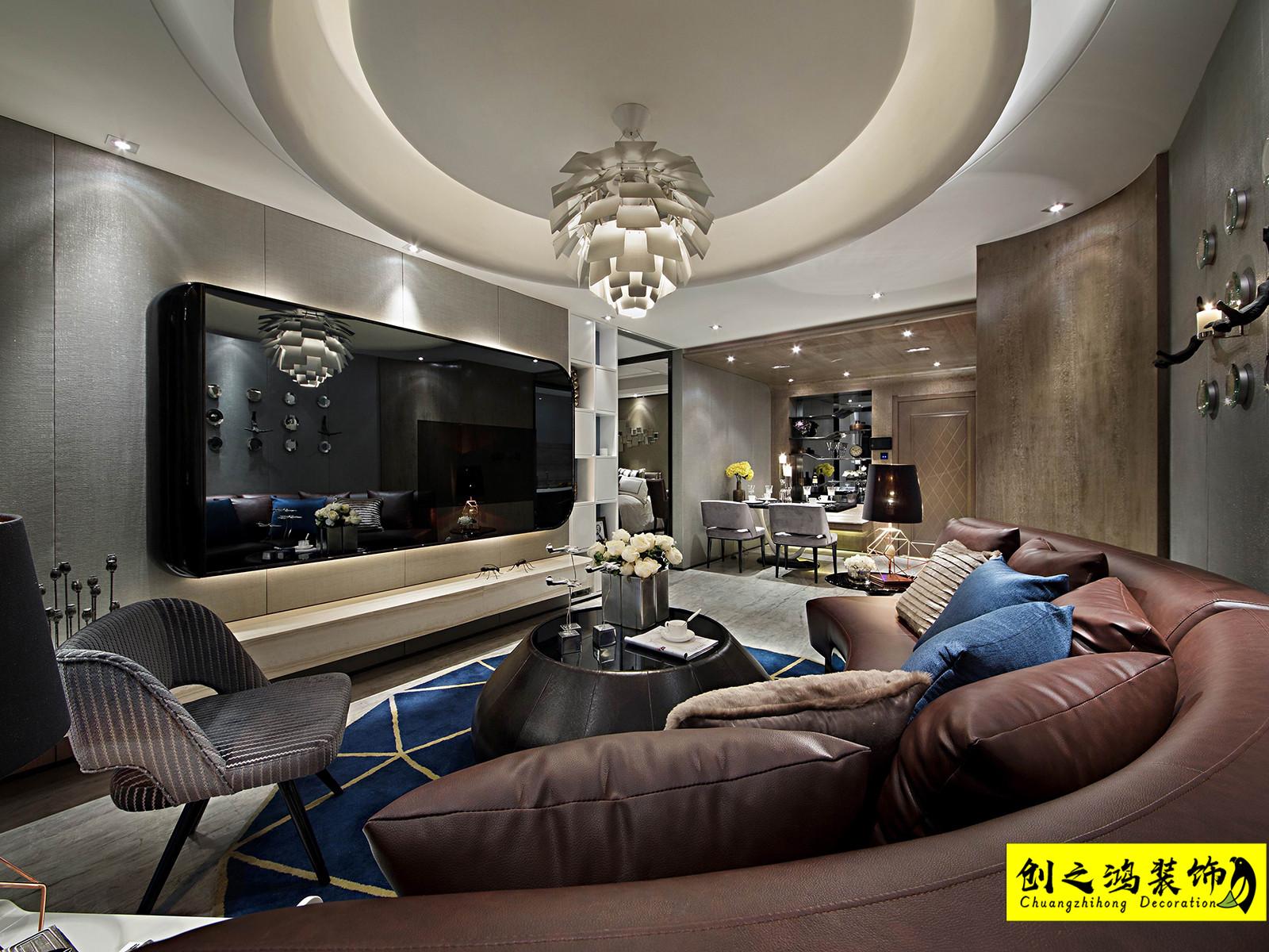 82㎡半湾半岛两室两厅现代简约风格装修效果图