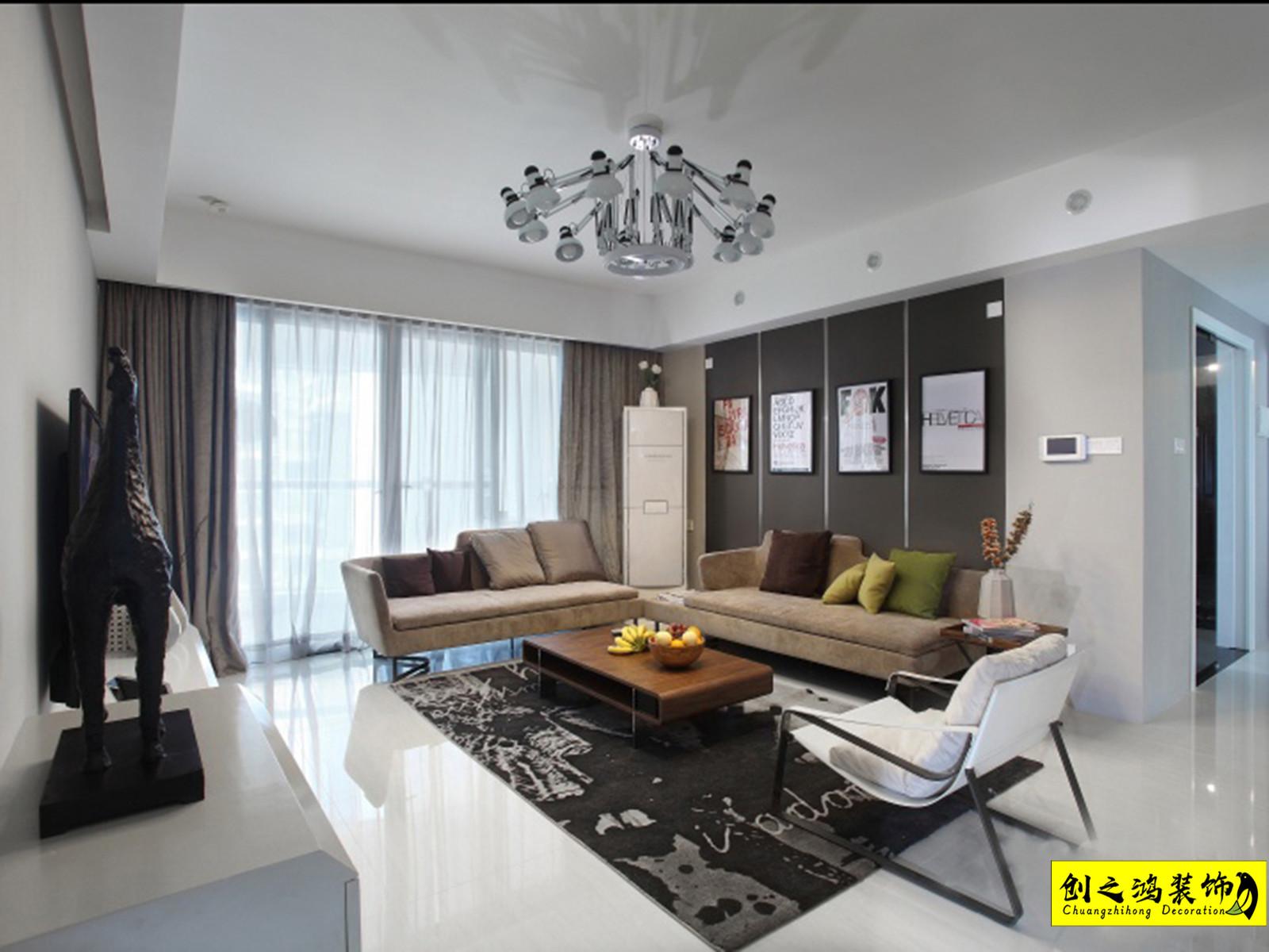 117㎡半湾半岛三室两厅现代简约风格装修效果图
