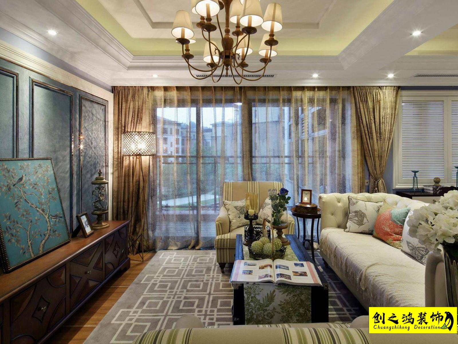 135㎡格调绮园三室两厅美式装修风格效果图