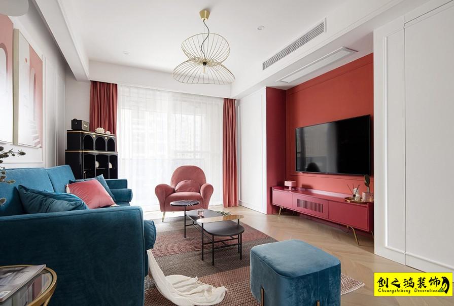 141㎡天津全运村三室两厅新古典风格装修效果图