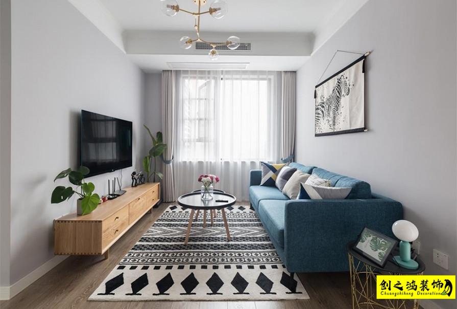 89㎡富力又一城两室两厅北欧风格装修效果图