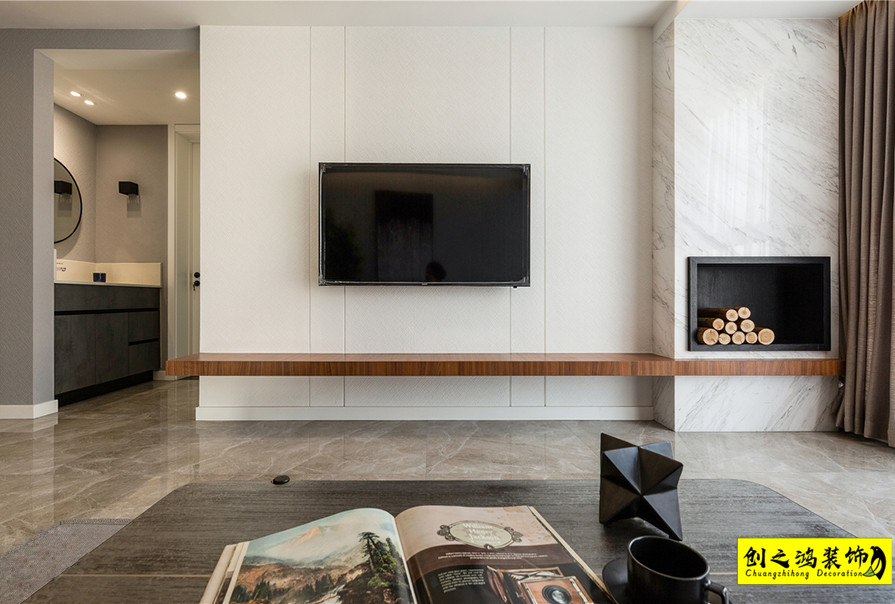 105㎡融创中心三居室现代简约风格装修效果图