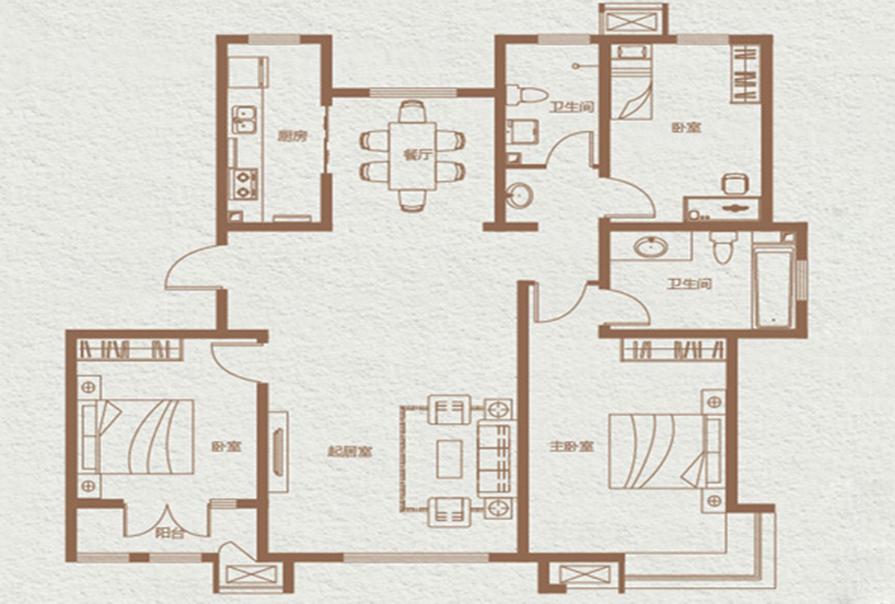 简约风格三室两厅效果图