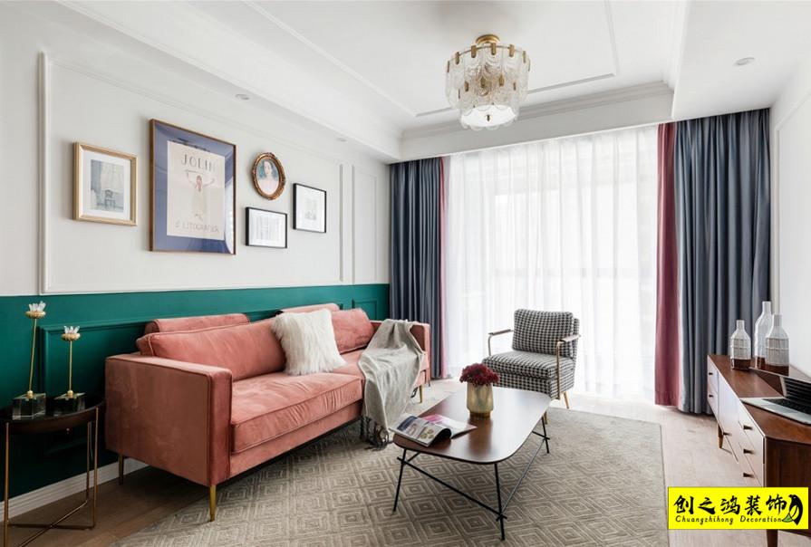 97㎡格调松间两室两厅混搭风格装修效果图