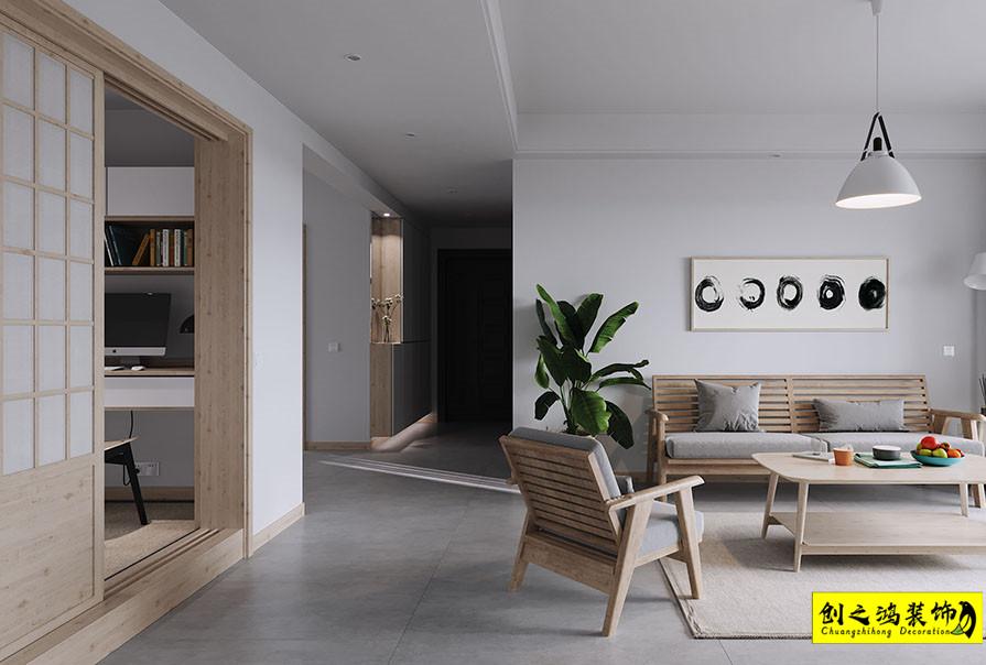 107㎡融创运河宸院三室两厅日式风格装修效果图