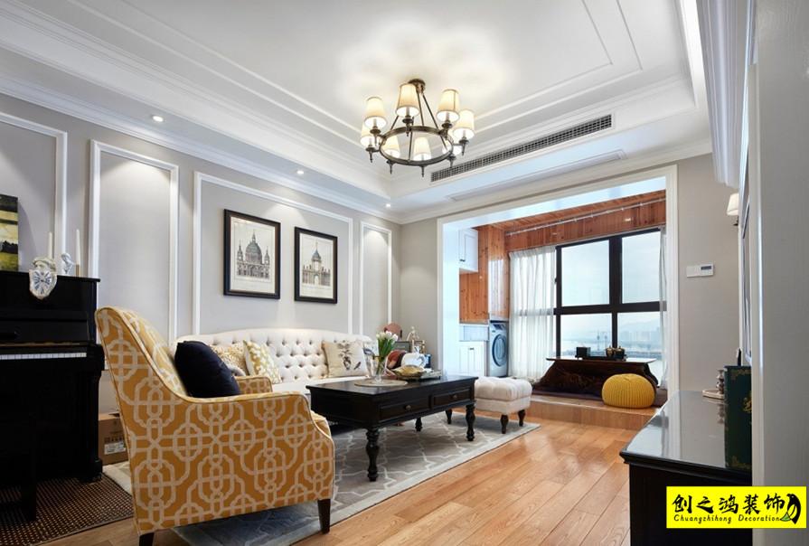 112㎡北岸中心三室两厅美式风格在装修效果图