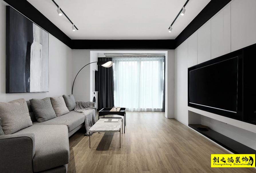 86㎡中交樾公馆两室两厅现代简约风格装修效果图