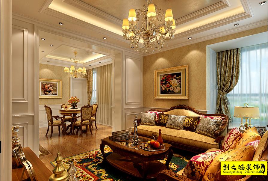 82㎡海河华鼎两室一厅欧式风格装修效果图
