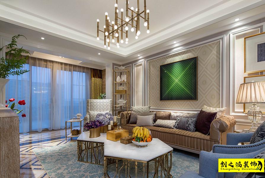 180㎡汇金花园三室两厅美式风格装修效果图
