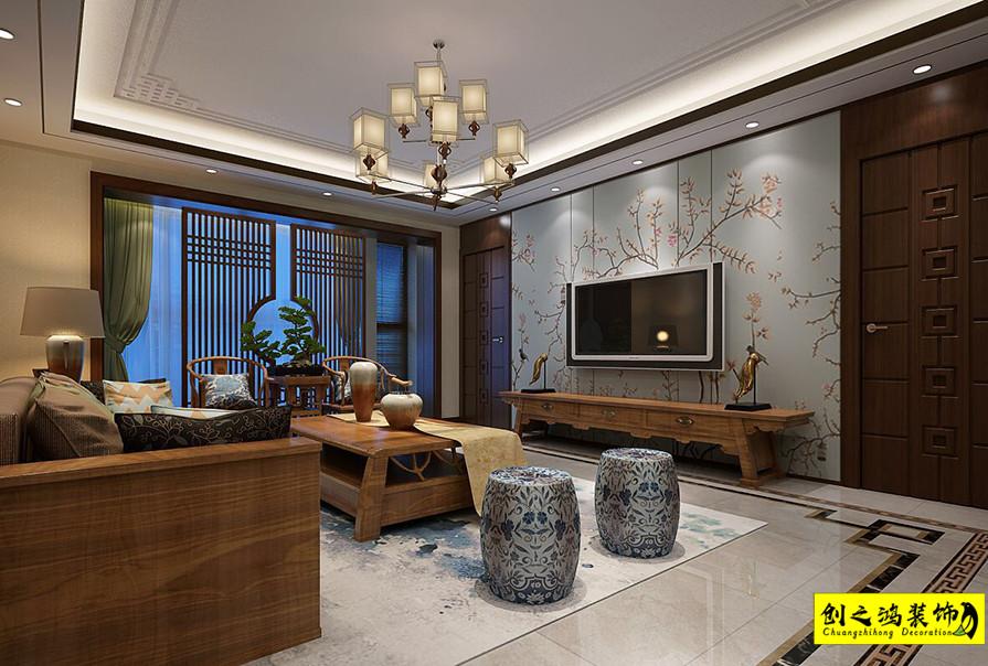 200㎡瑞海名苑三室两厅中式风格装修效果图