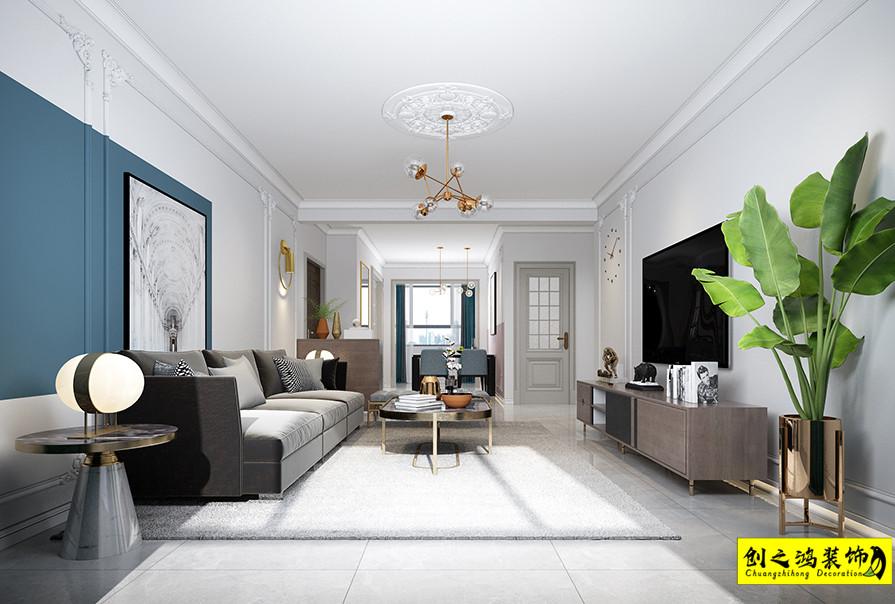 天津143㎡矽谷港湾三室两厅法式风格装修效果图