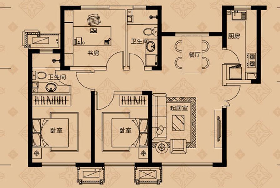 三室两厅效果图,南开装饰公司