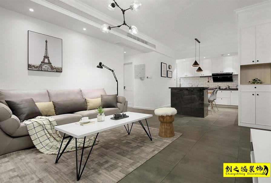 天津90㎡格调松间两室两厅北欧风格装修效果图