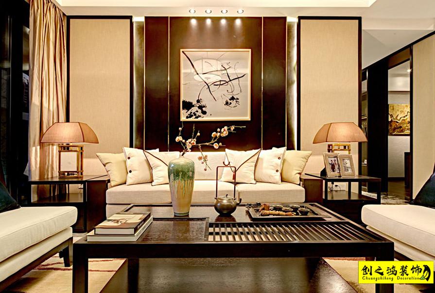 127㎡三室两厅格调松间中式风格装修效果图