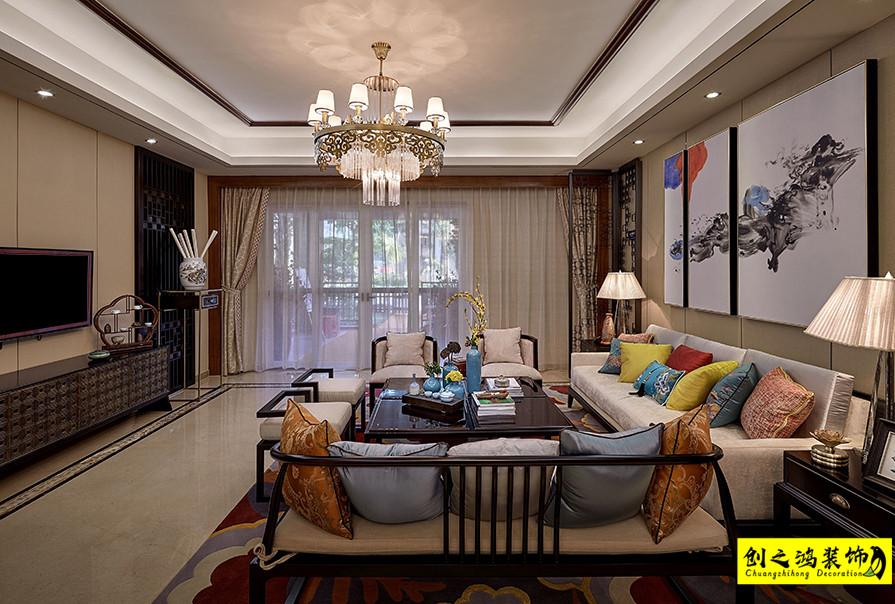 天津207㎡融创御园四室两厅中式风格装修效果图