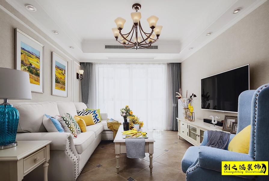 天津107㎡未来城三室两厅美式风格装修效果图