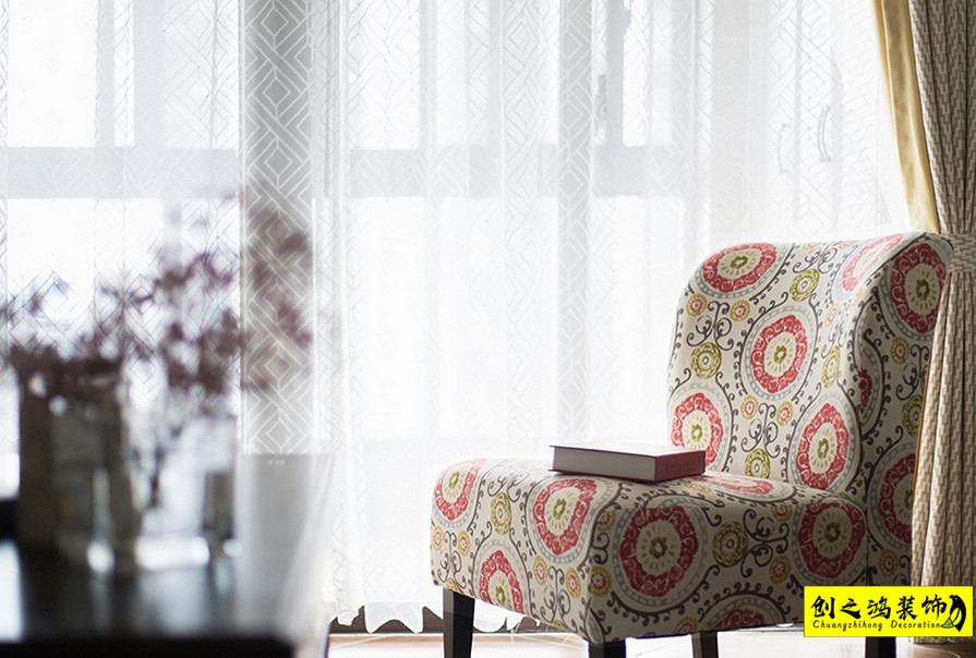 天津109㎡三室两厅格调松间美式风格装修效果图